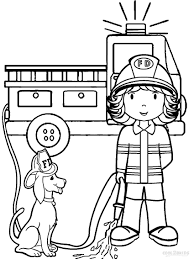 Coloring Pages Coloring Pages Easy Fire Truck With Free Printable