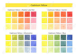 Primary Color Mixing Chart Color Chart Of Cadmium Yellow Mixing With Others Primary Colors