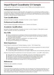 Import Export Coordinator Cv Sample Myperfectcv