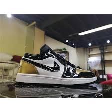 Spot Original New Nike_air_jordan 1 Low Gold Toe Aj1low Black Gold Low Top Sneakers Cq9447 700