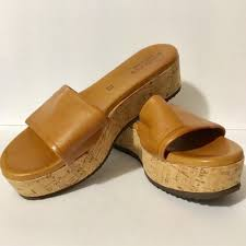 Sundance Soft Cognac Leather Flatform Slide Sandal