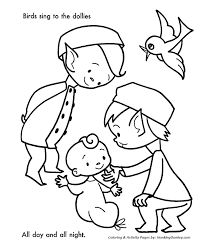 Small Picture Santas Helpers Coloring Pages Birds sang to the Baby Dolls