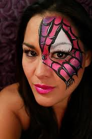 quick spider girl mask face paint tutorial