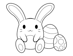 A bunny rabbit coloring page! Printable Cute Easter Bunny Coloring Page