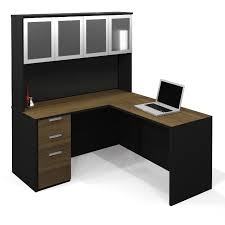 image of new black l shaped desk with hutch images
