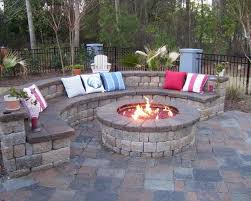 backyard landscape and patio design with outdoor fireplace ideas also curved stone bench seating and outdoor