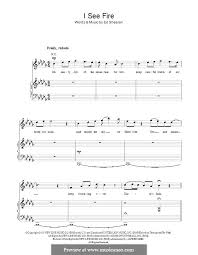 ed sheeran sheet music i see fire from the hobbit by e sheeran sheet music on musicaneo