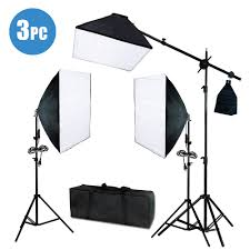 image is loading photo studio photography 3 softbox light stand continuous