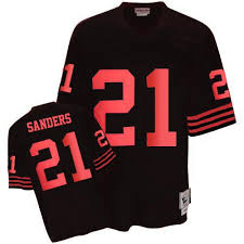 Men's Wholesale Throwback Mitchell Ness 49ers Francisco And San 21 Jersey Sanders Authentic Nfl Deion Black
