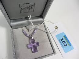 lalique glass cross pendant necklace
