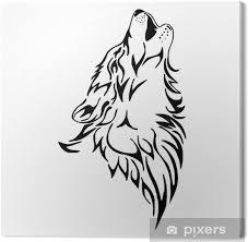 Obraz Vlčí Vytí Hlava Tetování Vektor Izolát Na Plátně