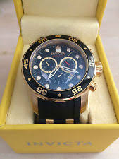 invicta watch mens invicta pro diver s swiss chronograph watch 18 k gold plating large