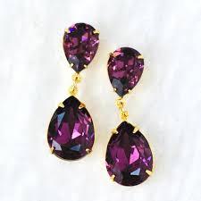 Amethyst Color Chart Amethyst Purple Earrings Amethyst Bride Purple Bridesmaids Dangles Swarovski Crystal Amethyst Earrings Hourglass Stud Post Or Clip On Dangle