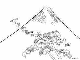 富士山と飛ぶ鳥の塗り絵の下絵画像 Coloring For Big People
