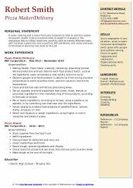 Pizza Delivery Resumes Pizza Maker Resume Samples Qwikresume