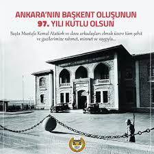 Türkiye Barolar Birliği - Ankara'nın Başkent Oluşunun 97. Yılı Kutlu Olsun  Tozlu bağrını Gazi Mustafa Kemal Atatürk ve arkadaşlarına açan Ankara,  ulusal kurtuluş savaşını yöneten dünyadaki ilk ve tek meclisin, bütün baskı
