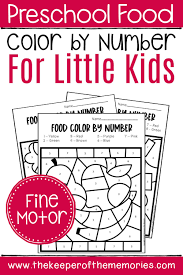 Color by number printables are so much fun! Free Printable Color By Number Food Preschool Worksheets