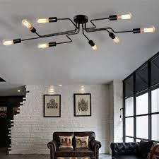 living room lighting ceiling. metal steel art 8light semi flush mount living room lighting ceiling
