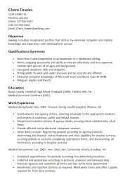 Receptionist Objective For Resume Samples Resume Templates And