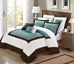 teal and brown also white bedding set added brown wooden table lamp placed on wooden floor with blue and brown comforter sets king also blue and brown