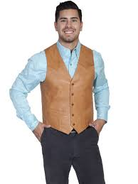 scully leather lambskin on front vest in ranch tan