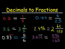 fractions in decimal form decimals to fractions in simplest form improper fractions and