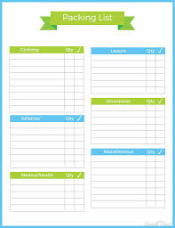 Vacation Packing Listmplate Free Printable Creative Life