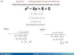 9 6 example 2 solving quadratic functions by factoring solve the equation chapter 9 quadratic functions and equations ppt