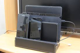 Multiple Devices Charging Station Dock Organizer Cell Phones, Tablets &  Macbook (PU Leather) Review - YouTube