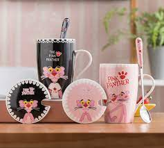 Pink panther is the sly, lanky animated cat, very strange, not like the other heroes of the cartoon, creature, characterized subtle humor, very original behavior, unconventional manners and smart. Cute Pink Panther Coffee Mug With Lid Spoon Office Ceramic Water Cup 350ml Gifts Ebay