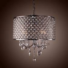 Drum Crystal Chandelier Modern 4 Lights Shade Pendant Lamp