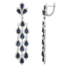 sapphire diamond chandelier earrings 14k white gold anniversary gifts for women