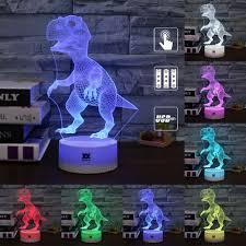 Cartoon Dieren Dinosaurus 3d Visuele Lamp 7 Kleur Led Kinderkamer
