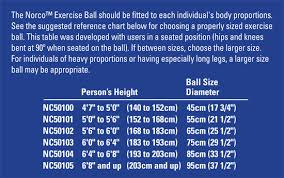 Exercise Ball Size Chart Norco Exercise Balls North Coast Medical