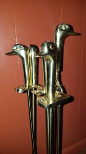 vintage brass duck head fireplace tool set for in longmeadow ma offerup