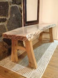 log furniture ideas. Natural Edge Maple Bench - Lovely For A Rustic Bathroom With Handcrafted Feel To Go Handmade Tile! Log Furniture Ideas