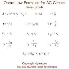 alternating current circuit. ohm\u0027s law formulas for ac series circuits alternating current circuit