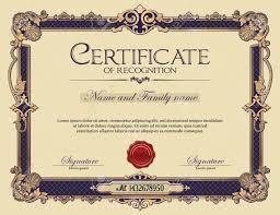 Certificate Recognition Antique Vintage Ornament Frame Certificate Of Recognition