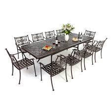 aluminium extending table 10 knot chairs autumn rust