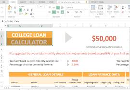 Loan Calculation Template College Loan Calculation Template For Excel
