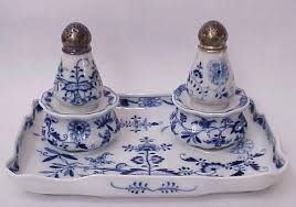 44 meissen condiment tray with shakers and pots cross sword marks on each of the 5 pieces