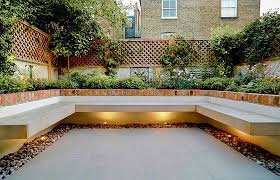 small garden with large floating bench