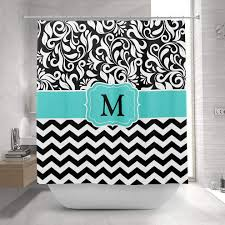 monogram black white chevron fl damask shower curtain 1 2