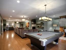 games room lighting. Spacious Game Room Design Ideas With Nice Gray Pool Table Games Lighting
