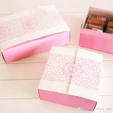 Decorative Cookie Boxes Small Pink Flower Decoration Bakery Package Dessert Candy Cookie 94