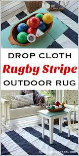 diy drop cloth rugby stripe outdoor rug