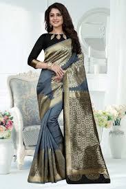 Grey Color Designer Blouse Grey Banarasi Art Silk Saree