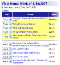 one week menu planner zone diet menu planner