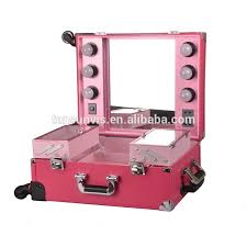 lighting rolling cosmetic case with mirrior professional makeup case with lights and clasp key make up case with light mirror rolling makeup case with