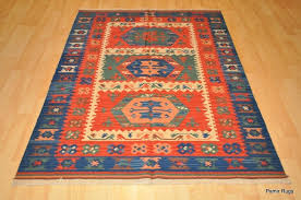 details about southwestern wool kilim area rug 3 x 5 handmade red and blue caucasian style